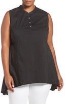 Melissa McCarthy Plus Size Women's Sleeveless Mandarin Collar Swing Top