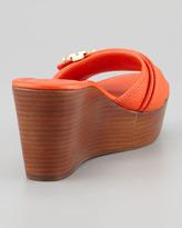 Tory Burch Elina Mid-Wedge Slide Sandal, Orange