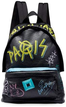 Balenciaga Men's Graffiti Leather Backpack