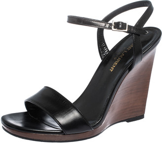 Saint Laurent Black Leather Ankle Strap Wedge Sandals Size 37.5