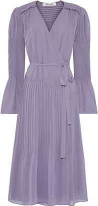 Diane von Furstenberg Ani Shirred Pleated Chiffon Wrap Dress