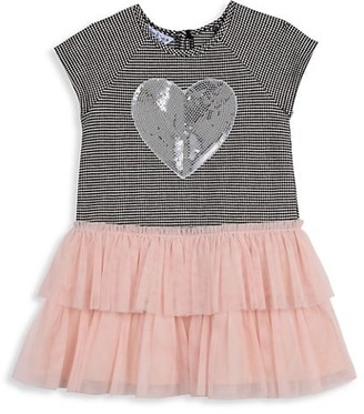 Pippa & Julie Baby Girl's Tierred Mesh Skirt & Sequin Heart Dress