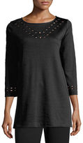 Joan Vass Cutout-Detail Interlock Tunic, Plus Size