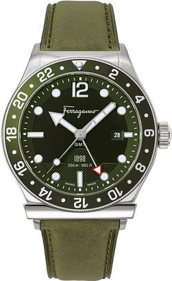 Salvatore Ferragamo Sport Leather Strap Watch, 44mm