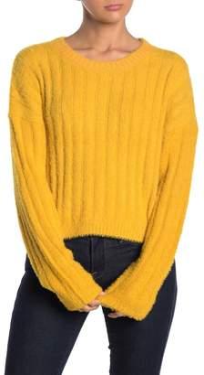 GOOD LUCK GEM Eyelash Crew Neck Sweater