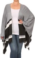 Belldini Heather Gray & Charcoal Stripe Kimono - Plus
