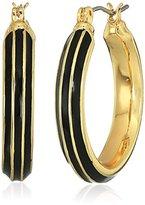 Napier Gold-Tone and Black Enamel Large Hoop Earrings