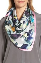 Vince Camuto Women's Floral Photo Smash Square Silk Scarf
