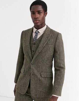 Asos Design DESIGN slim suit jacket in 100% wool Harris Tweed in brown herringbone