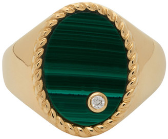 Yvonne Léon Gold and Green Oval Signet Ring