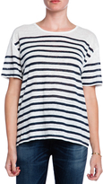 CURRENT/ELLIOTT The Short Sleeve Striped Linen Tee