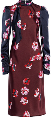 Joie Kylan Tie-neck Paneled Floral-print Satin Dress