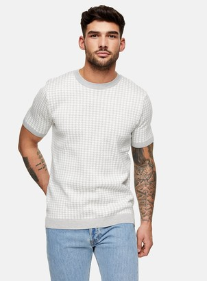 Topman Grey Houndstooth Knitted T-Shirt