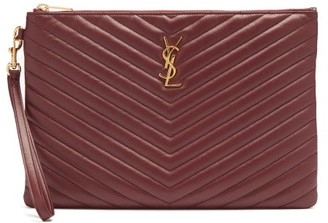 Saint Laurent Monogram Matelasse Leather Burgundy Clutch - Burgundy