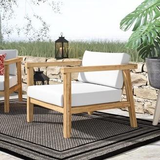 Edmeston Outdoor Teak Chair with Cushions Bayou Breeze
