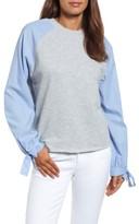 Women's Caslon Contrast Tie Sleeve Sweatshirt