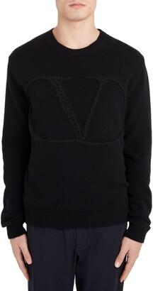 Valentino VLTN Logo Crewneck Wool & Cashmere Sweater