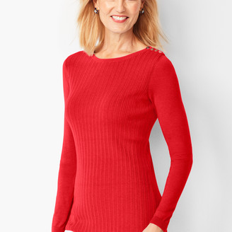 Talbots Button-Shoulder Crewneck Sweater