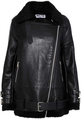 Walter Baker Adele Faux Shearling-trimmed Leather Jacket