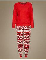 M&S Collection Fairisle Print Long Sleeve Pyjamas