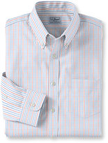L.L. Bean Wrinkle-Free Pinpoint Oxford Shirt, Long-Sleeve Slightly Fitted Tattersall