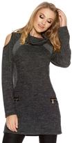 Quiz Dark Grey Cold Shoulder Tunic Dress
