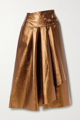 Johanna Ortiz Noches De Luna Belted Metallic Leather Skirt - Gold