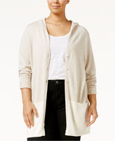 Style&Co. Style & Co. Plus Size Colorblocked Hooded Cardigan, Only at Macy's