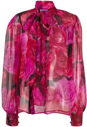 Blumarine floral print bow tie blouse