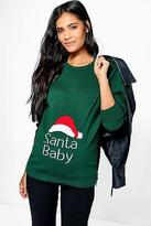 boohoo Womens Maternity Esme Santa Baby Christmas Jumper in Bottle Green size