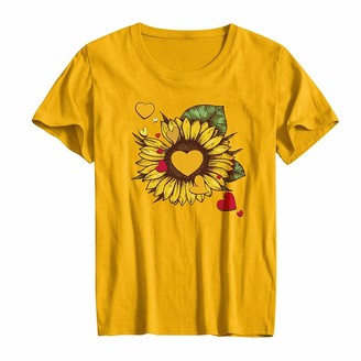 CUTUDE Women Heart Printed T Shirts Short Sleeve Summer Graphic Tee Ladies Blouse Vest Sunflower Tops Fashion (Yellow M)