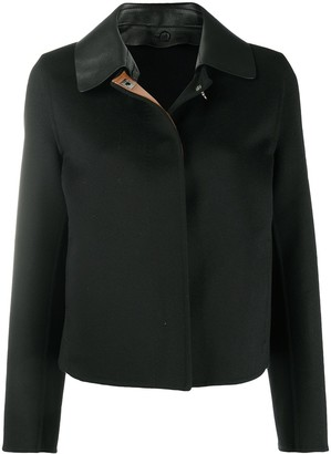 Salvatore Ferragamo Gancini leather collar jacket