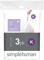 Simplehuman code K custom fit liners 3 x 20pk (60 liners) - White