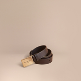 Burberry Polished Plaque Buckle Leather Belt