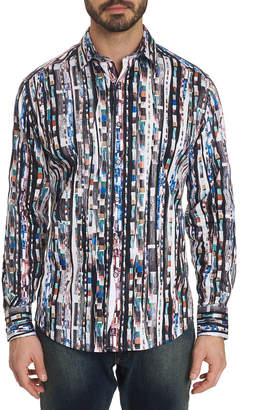 Robert Graham Men's Cutting Room Patterned Sport Shirt with Contrast Detail
