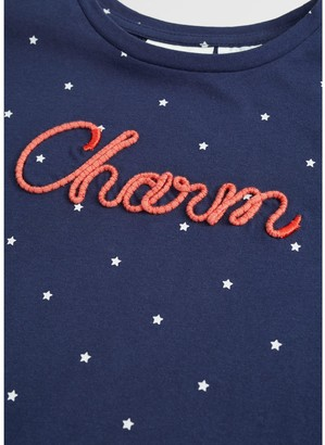 MANGO Girls Charm Spot Short Sleeve Tshirt - Navy