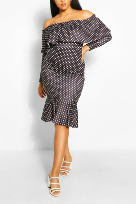boohoo Plus Off The Shoulder Polka Dot Midi Dress