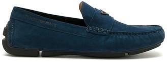 Emporio Armani Logo Plaque Boat Shoes