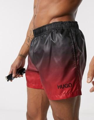 HUGO BOSS Malibu tip dye swim shorts in black to red