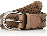 Barneys New York Men's Braided Leather Belt-BROWN