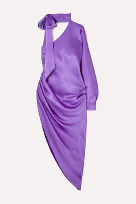 Ralph & Russo - One-sleeved Asymmetric Silk-satin Midi Dress - Purple