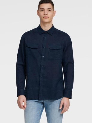 DKNY Men's Long-sleeve Linen Shirt - French Blue - Size XXL