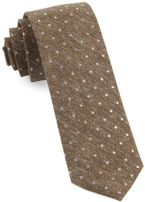 Tie Bar Knotted Dots Brown Tie
