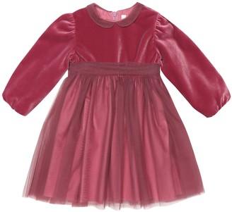 Il Gufo Baby tulle-trimmed velvet dress
