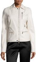Jason Wu Zip-Pocket Lamb Leather Field Jacket, Plaster
