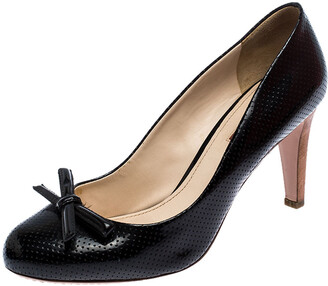 Prada Sport Black Perforated Leather Bow Wooden Heel Pumps Size 38