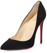 Christian Louboutin Pigalle Follies Suede Red Sole Pump, Black