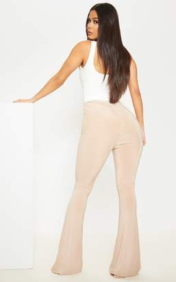 PrettyLittleThing Stone Flare Ruched Bum Slinky Trousers