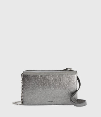 AllSaints Miki Lea Chain Leather Wallet Crossbody Bag