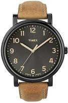 Timex R) 'Easy Reader' Leather Strap Watch, 42mm
